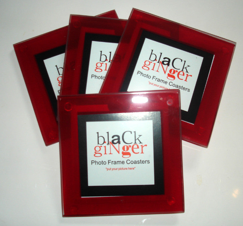Red Frame Photo Coasters - Set of 4
