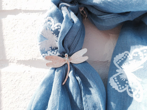 Dragonfly Scarf Ring - Pewter