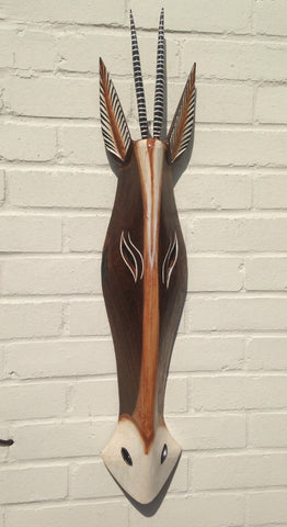 Hand Carved Gazelle Tribal Mask - 80cm