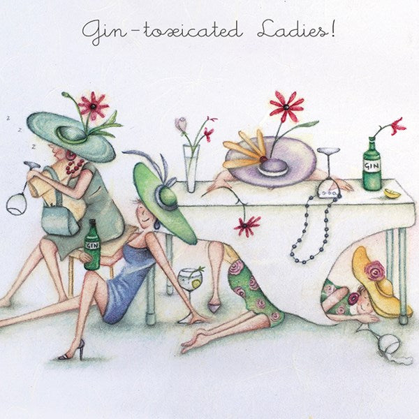 Gin Birthday Card - Gin-toxicated Ladies! Berni Parker
