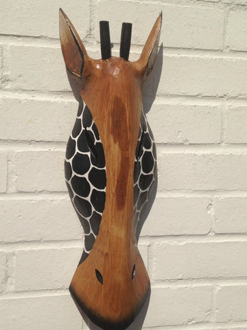 Hand Carved Brown/Black Wooden Giraffe Tribal Mask - 50cm