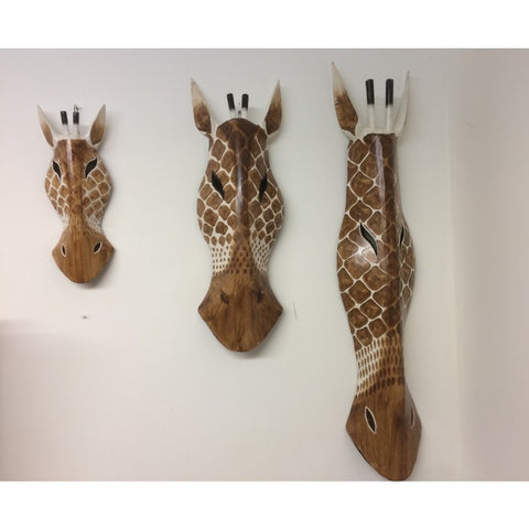 Hand Carved Brown/Natural Wooden Giraffe Tribal Mask - 30cm