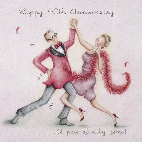 Ruby Wedding Anniversary Card - Happy 40th Anniversary...A pair of ruby gems!