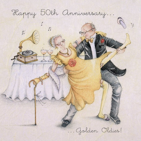 Golden Wedding Anniversary Card - Happy 50th Anniversary...Golden Oldies!