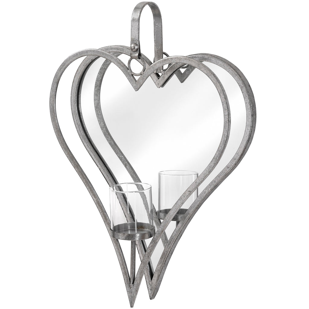 Wall Candle Holder - Antique Silver Mirror Heart Large