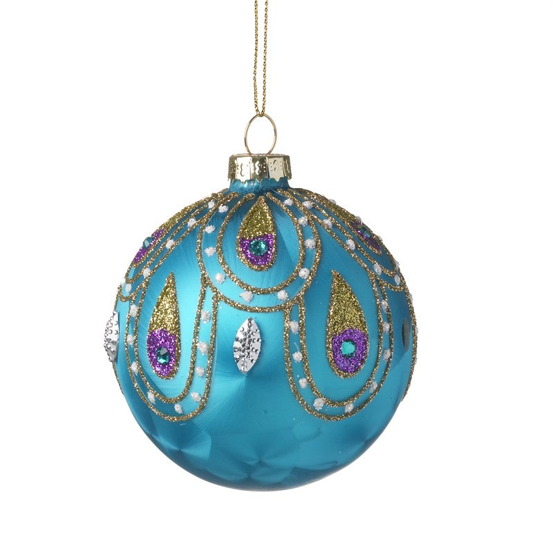 Blue Christmas Bauble Feather Dot Peacock Design