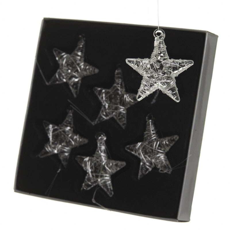 Glass Star Christmas Tree Decorations - Set of 6