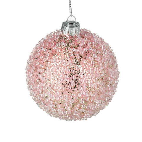 Pink Ice Glass Bauble