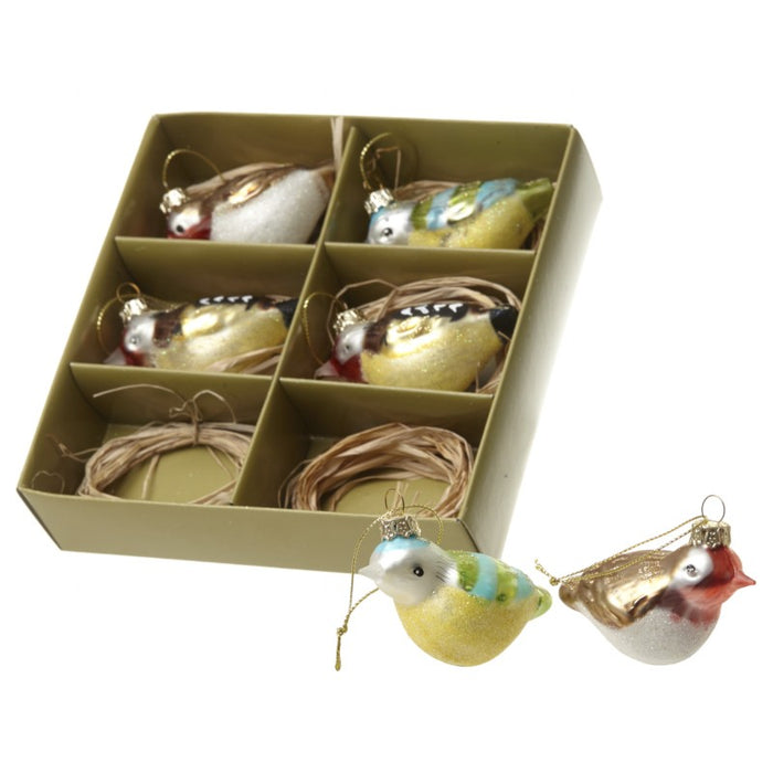 Bird Christmas Tree Decorations - Set of 6