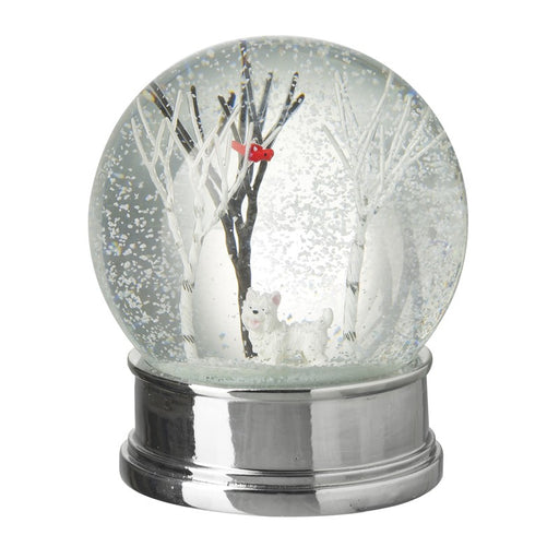 Christmas Snow Globe with White Dog