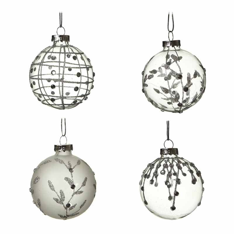 Glass Bauble Clear and Frosted Christmas Tree Decorations - Set of 4