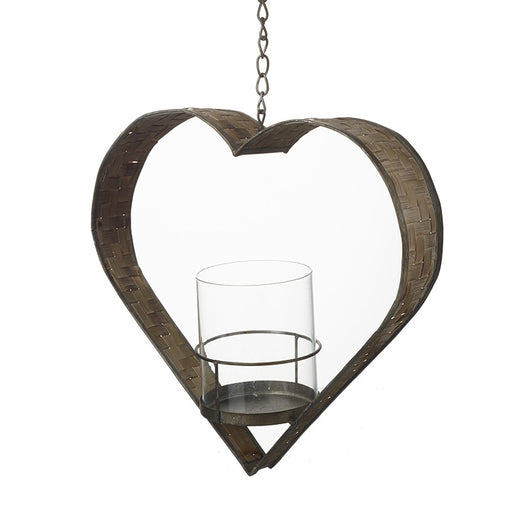 Rustic Hanging Heart Candle Holder on metal chain