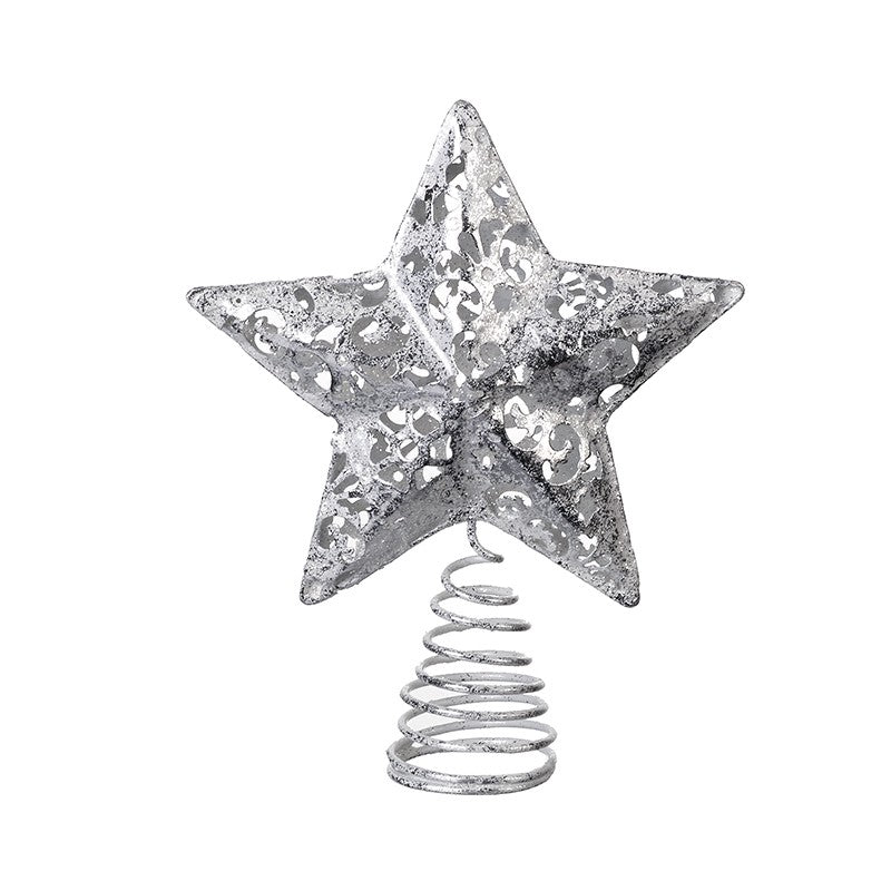 Small Silver Tree Topper - Fretwork Christmas Tree Star