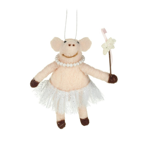 Pink Pig with Wand Hanging Christmas Decoration