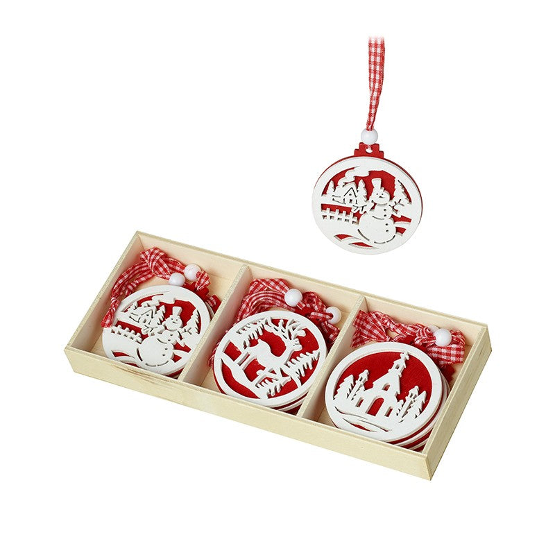 Wooden Hanging Red White Diecut Decorations