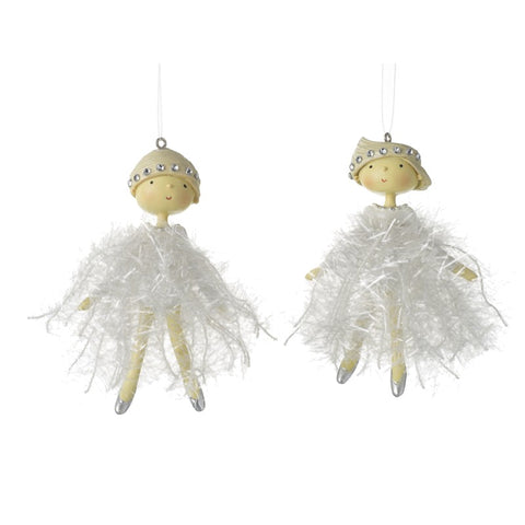 White Fairy Christmas Decorations - Pair