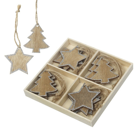 Tree and Star Boxed Wooden Christmas Tree Decorations