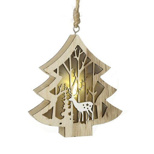 Light Up Wooden Tree Shaped Christmas Tree Decoration