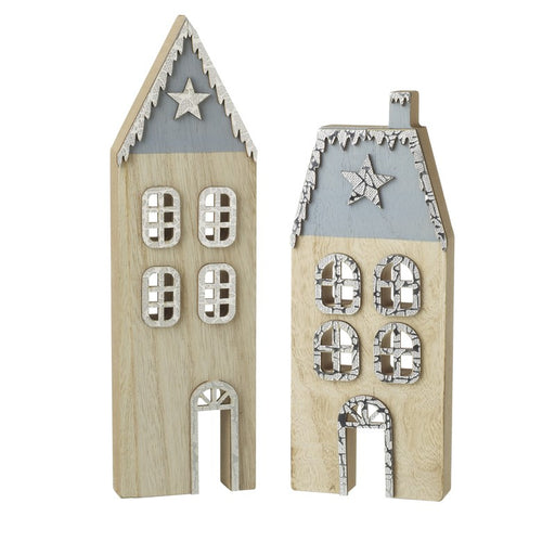 Festive Wooden Houses Freestanding Pair