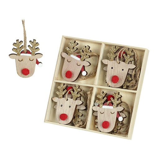Reindeer with Gold Antlers Wooden Tree Decorations