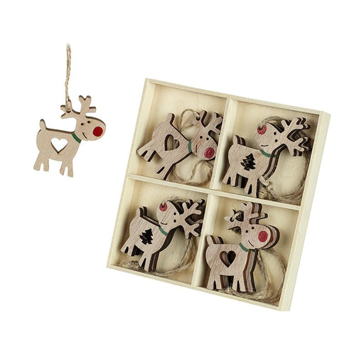 Cheeky Reindeer Wooden Tree Decorations