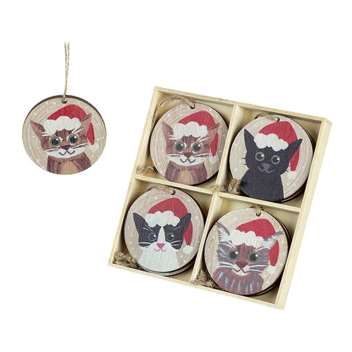 Cats in Hats Baubles Wooden Tree Decorations