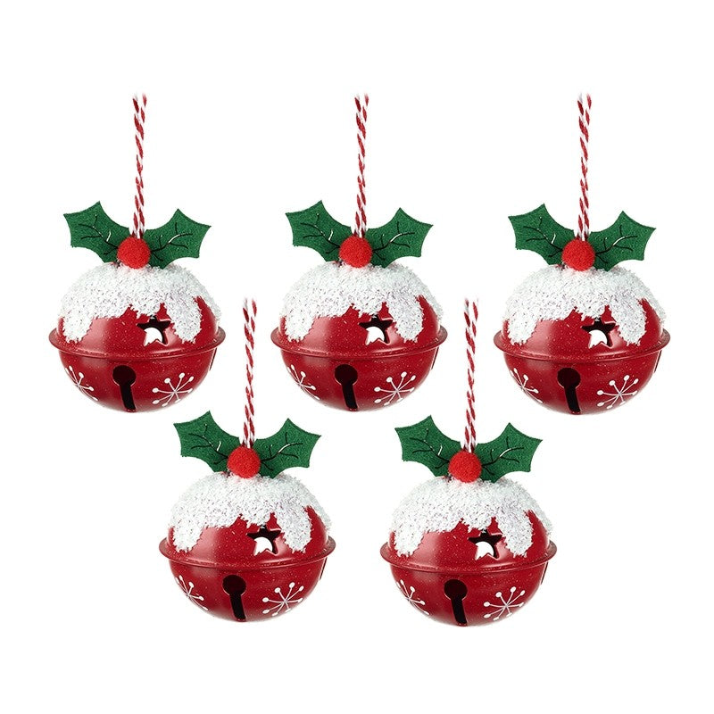 Red Christmas Bells With Holly - Traditional Style Decorations