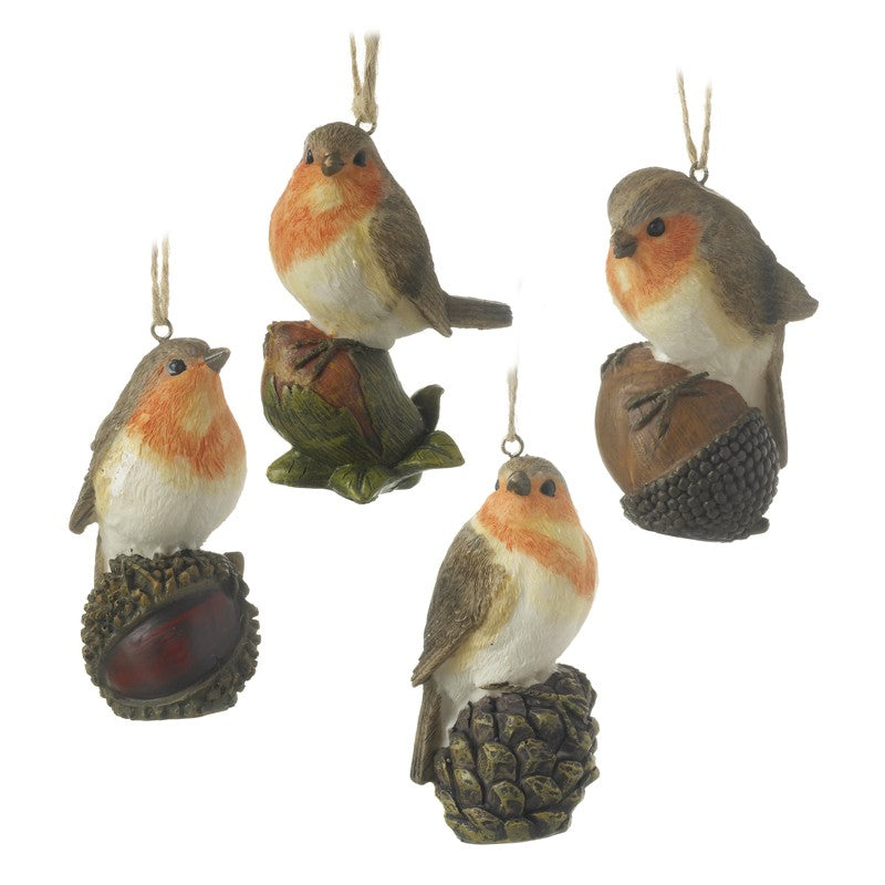 Set of 4 Traditional Robin Christmas Decorations (9cm)