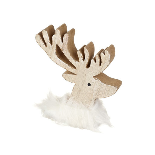 Wooden Reindeer Head with Fluffy Scarf