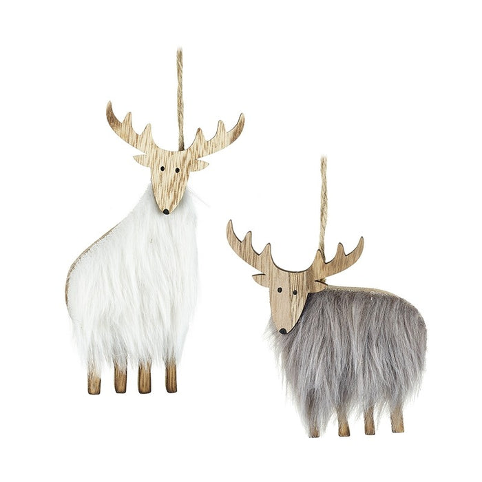 Pair of Fluffy Reindeer Christmas Tree Decorations