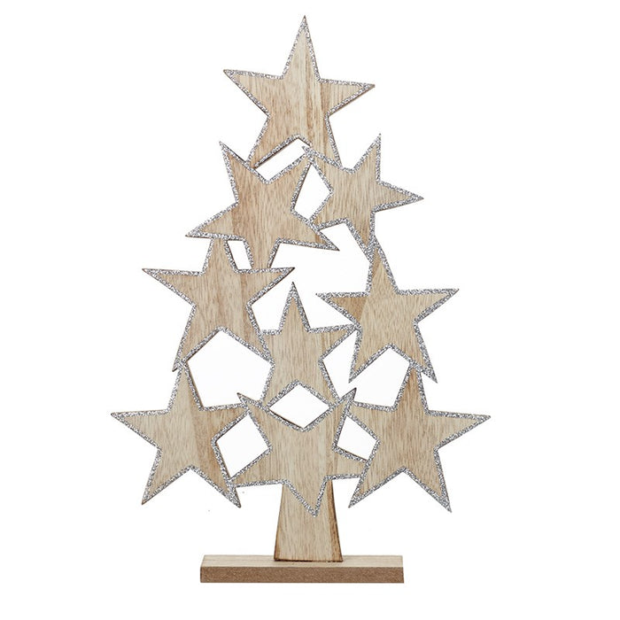 Wooden Christmas Tree with Stars - 31cm