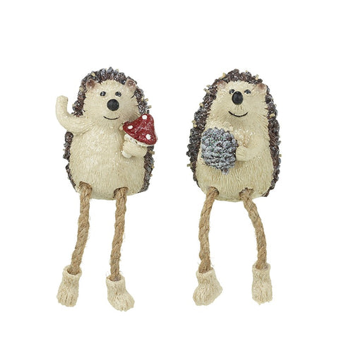 Shelf Sitting Pair of Glittery Hedgehogs