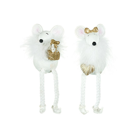 Christmas Mice, White and Gold Fluffy Glitter Shelf Sitting Pair
