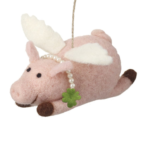 Flying Pink Pig Hanging Christmas Decoration