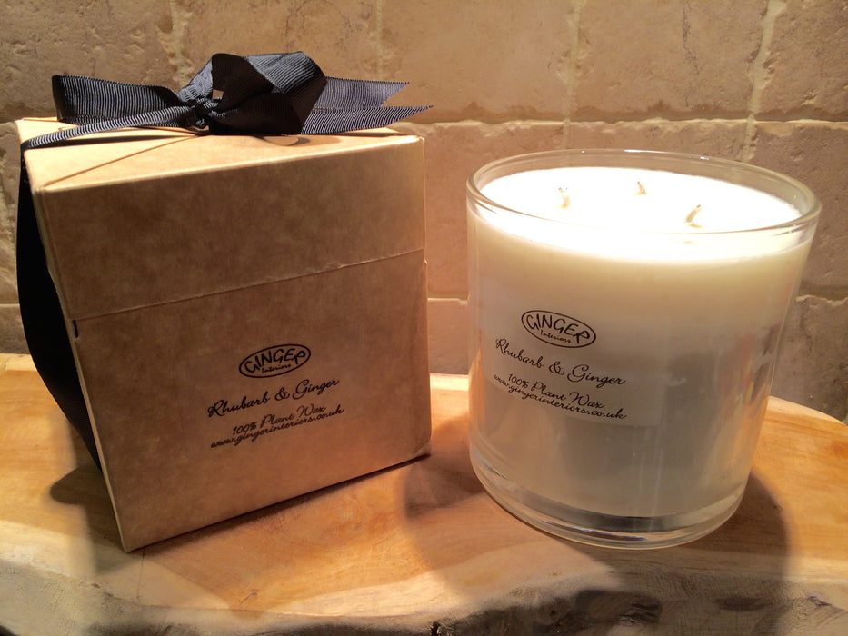 Large Scented Candle 3 Wick - Rhubarb and Ginger