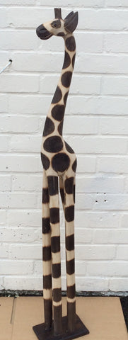 Hand Carved Wooden Giraffe - 120cm