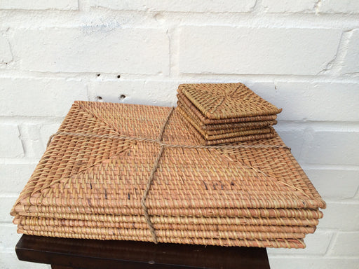 Java Rectangular Rattan Placemats and Coasters -Set of 6