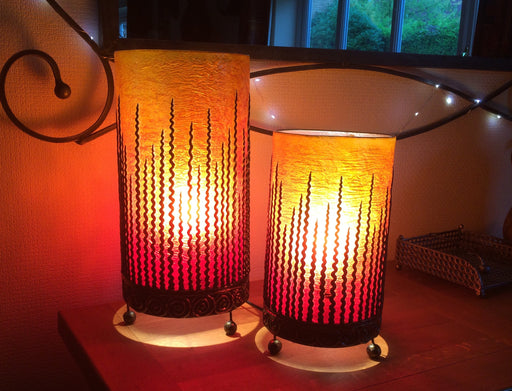 Squiggle Table Lamps - Bronze Orange 40cm and 30cm