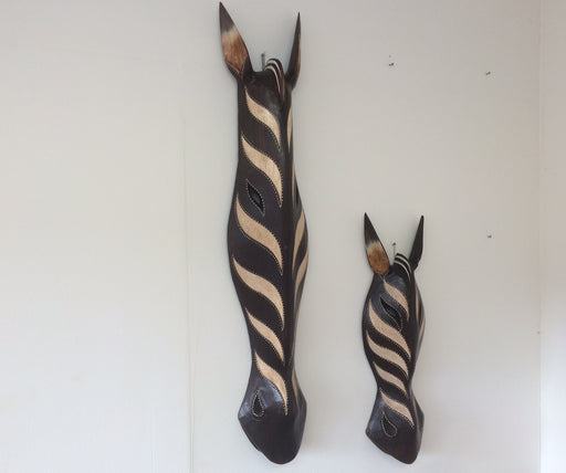 Hand Carved Black and Cream Zebra Tribal Masks