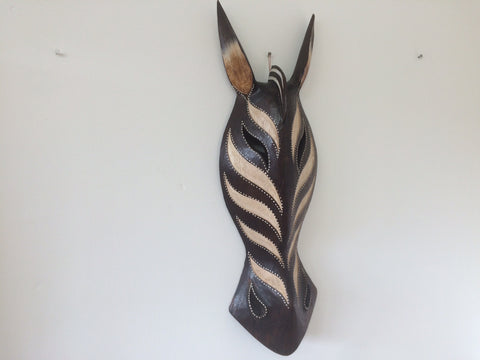 Hand Carved Black and Cream Zebra Tribal Mask - 50cm