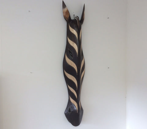 Hand Carved Black and Cream Zebra Tribal Mask - 80cm