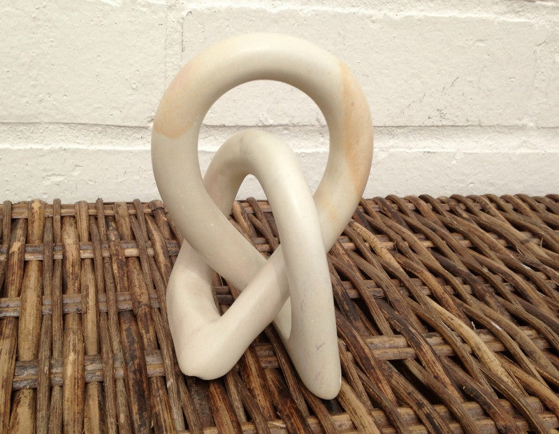 Hand Carved Fair Trade Natural Soapstone Love Knot - 10cm