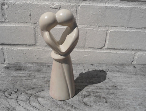 Kissing Lovers Natural Soapstone Ornament - 20cm high