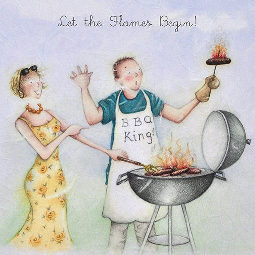 Barbeque Birthday Card - Let the flames begin! - Berni Parker