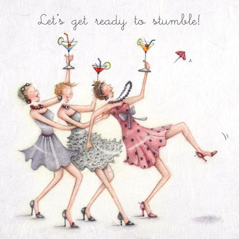 Cocktails Greeting Card - Lets get ready to stumble! - Berni Parker