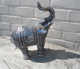 Small Elephant Ornament - Silver and Black Finish - 24cm