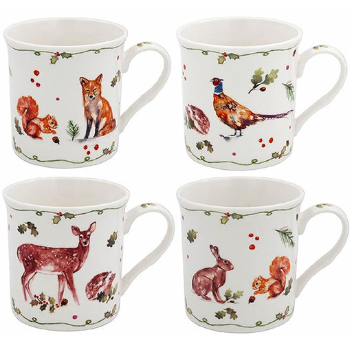 Christmas Mug Set of 4 - Winter Forest