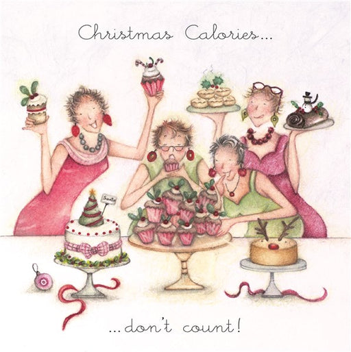 Bernie Parker Christmas Card - Christmas Calories Don't Count!