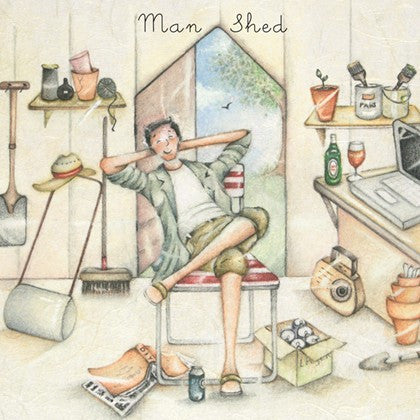 Man Shed Greeting Card