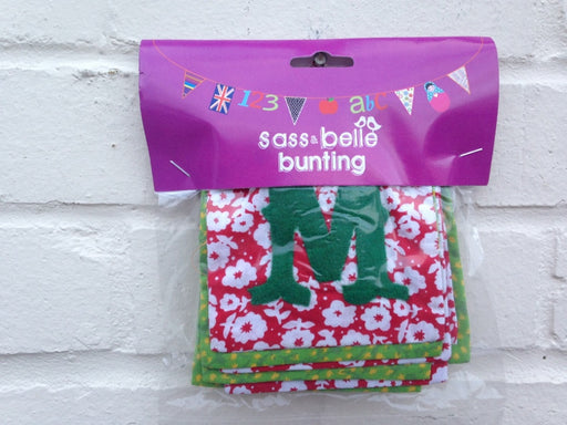 MERRY CHRISTMAS Bunting - Green and Red Fabric